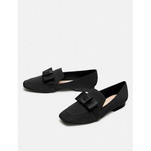 Zara Size US 8 Black Bow Flat Loafers